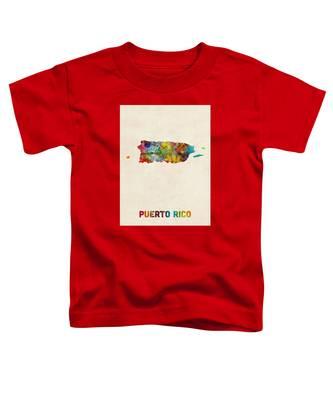 Puerto Rico Watercolor Map Toddler T-Shirt