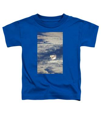 Toddler T-Shirt featuring the photograph Full Moon In Gemini With Clouds by Judy Kennedy