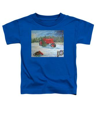Antique Tractor At The Christmas Tree Farm Toddler T-Shirt