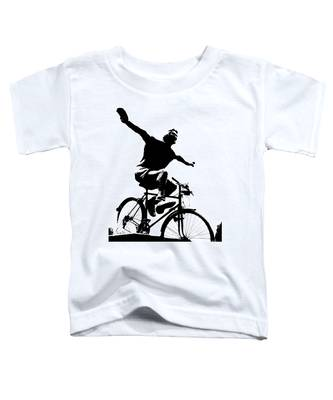 Bicycle - Black And White Pixels Toddler T-Shirt