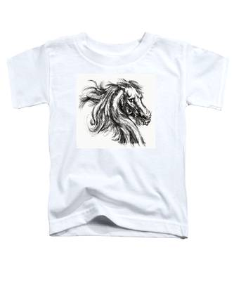 Horse Face Ink Sketch Drawing - Inventing A Horse Toddler T-Shirt