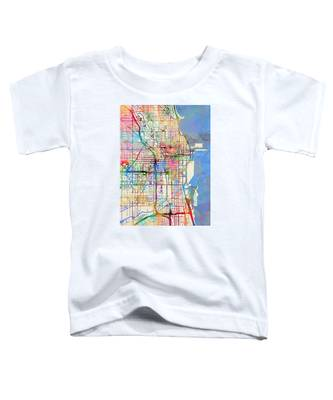 Chicago City Street Map Toddler T-Shirt