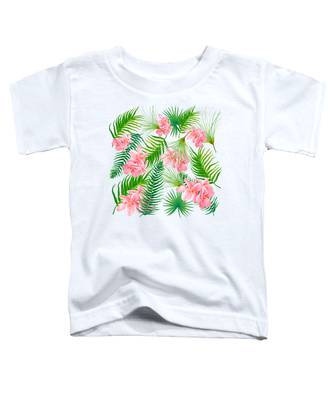 Pink Frangipani And Fern Leaves Toddler T-Shirt