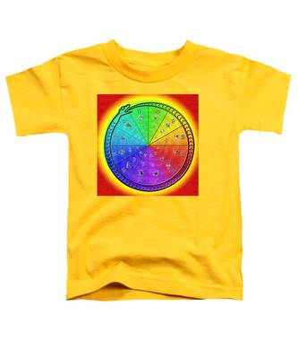 Toddler T-Shirt featuring the drawing Ouroboros Alchemical Zodiac by Derek Gedney