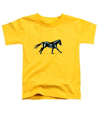 Toddler T-Shirt featuring the digital art Clementine - Pop Art Horse - Black, Island Paradise Blue, Primrose Yellow by Manuel Sueess