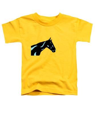 Toddler T-Shirt featuring the digital art Crimson - Pop Art Horse - Black, Island Paradise Blue, Primrose Yellow by Manuel Sueess