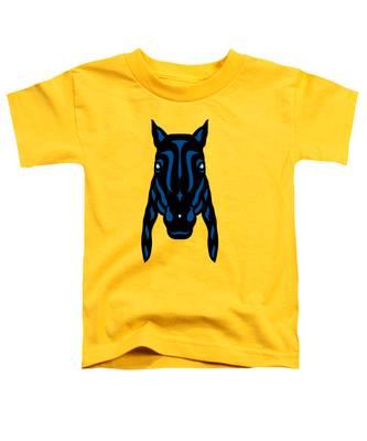 Horse Face Rick - Horse Pop Art - Primrose Yellow, Lapis Blue, Island Paradise Blue Toddler T-Shirt by Manuel Sueess