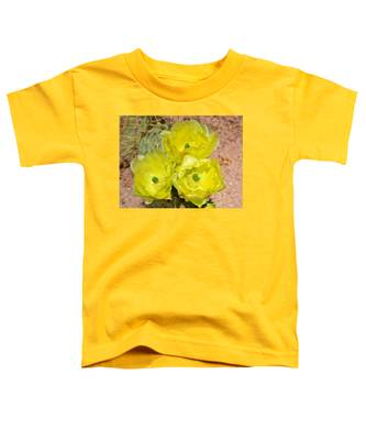 Toddler T-Shirt featuring the photograph Prickly Pear Cactus Trio Bloom by Judy Kennedy