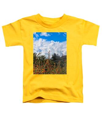 Toddler T-Shirt featuring the photograph Under  A White Fluffy Cloud by Judy Kennedy