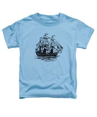 Pirate Ship Artwork - Vintage Toddler T-Shirt