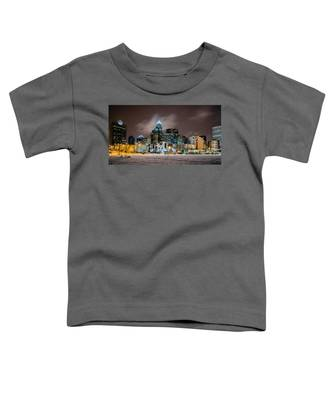 Charlotte Queen City Skyline Near Romare Bearden Park In Winter Snow Toddler T-Shirt
