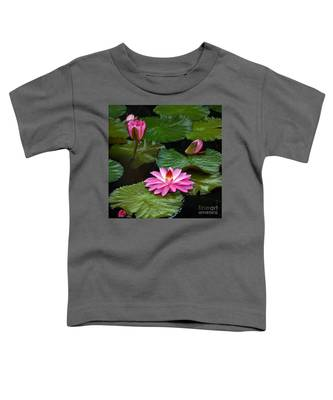 Hot Pink And Green Tropical Waterlilies Toddler T-Shirt