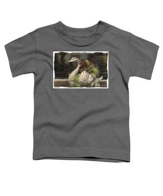 Swan With Beautiful Flowers Toddler T-Shirt