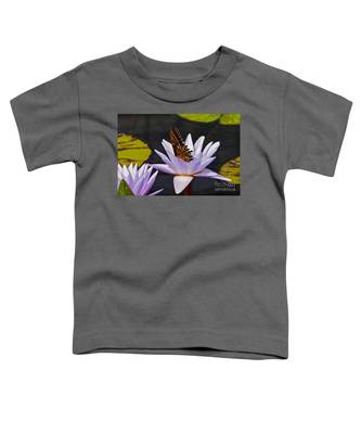 Water Lily And Swallowtail Butterfly Toddler T-Shirt