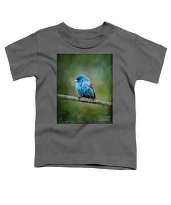Bird In Blue Indigo Bunting Ginkelmier Inspired Toddler T-Shirt