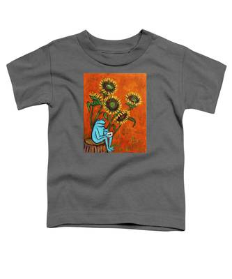 Frog I Padding Amongst Sunflowers Toddler T-Shirt