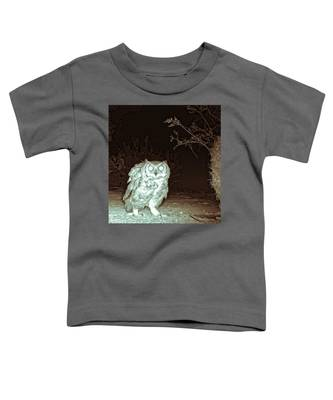 Great Horned Owl At Night In The Desert Toddler T-Shirt by Judy Kennedy