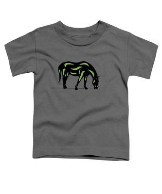 Toddler T-Shirt featuring the digital art Hazel - Pop Art Horse - Black, Greenery, Purple by Manuel Sueess