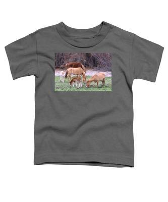 Toddler T-Shirt featuring the photograph Salt River Wild Horses In Winter by Judy Kennedy