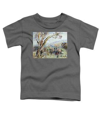 Working Clydesdale Pair, Australian Landscape. Toddler T-Shirt
