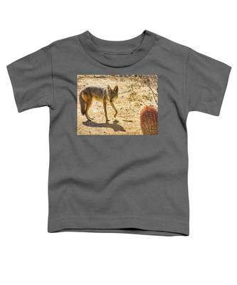 Toddler T-Shirt featuring the photograph Young Coyote And Cactus by Judy Kennedy