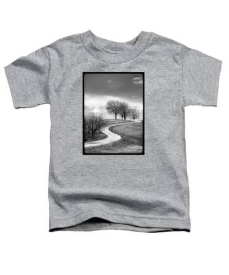A Winding Country Road In Black And White Toddler T-Shirt