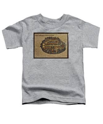 Ancient Jerusalem Mosaic Map Color Framed Toddler T-Shirt