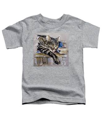 Lazy Cat Portrait - Drawing Toddler T-Shirt