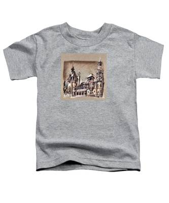 Peles Castle Romania Drawing Toddler T-Shirt