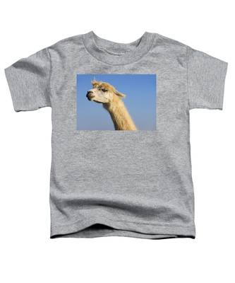 Toddler T-Shirt featuring the photograph Alpaca by Skip Hunt