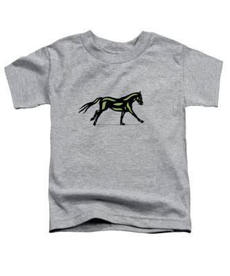 Toddler T-Shirt featuring the digital art Clementine - Pop Art Horse - Black, Geenery, Hazelnut by Manuel Sueess