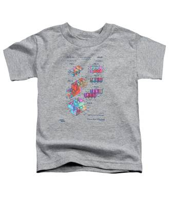 Colorful 1961 Toy Building Brick Patent Art Toddler T-Shirt