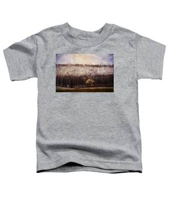 Gold Leafed Tree In Snow Toddler T-Shirt
