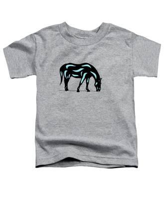 Toddler T-Shirt featuring the digital art Hazel - Pop Art Horse - Black, Island Paradise Blue, Hazelnut by Manuel Sueess