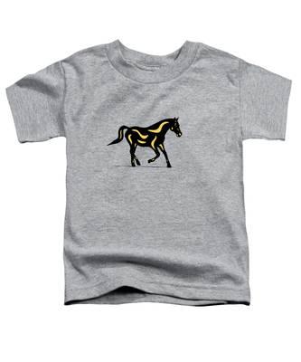 Toddler T-Shirt featuring the digital art Heinrich - Pop Art Horse - Black, Primrose Yellow, Hazelnut by Manuel Sueess