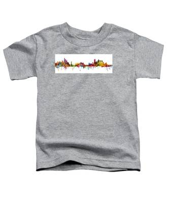 New York And Pittsburgh Skyline Mashup Toddler T-Shirt