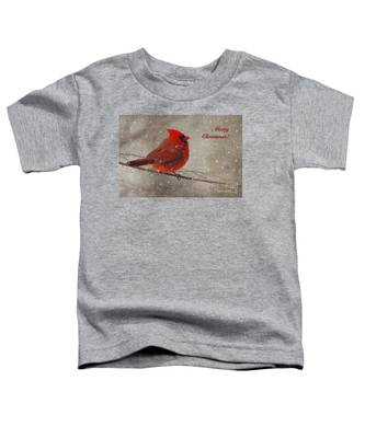 Red Bird In Snow Christmas Card Toddler T-Shirt