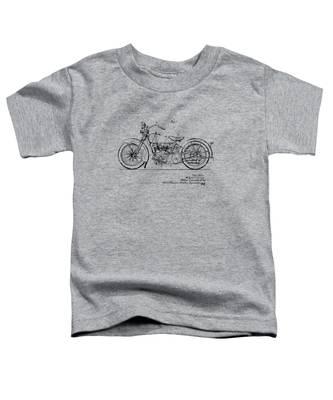 Vintage Harley-davidson Motorcycle 1928 Patent Artwork Toddler T-Shirt