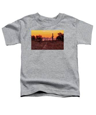 Desert Sunrise Trail Toddler T-Shirt by Judy Kennedy