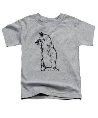 Fox On Burlap  Toddler T-Shirt