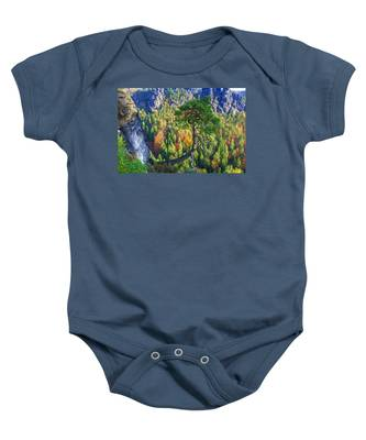 Lonely Tree In The Elbe Sandstone Mountains Baby Onesie