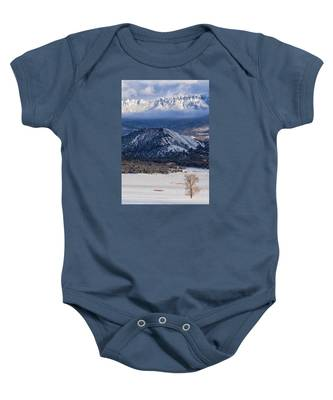 Turret Ridge In Winter Baby Onesie