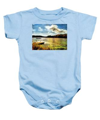 Baby Onesie featuring the painting Mohegan Lake Gold by Derek Gedney