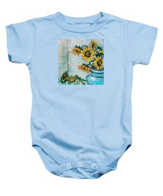 Sunflowers And Frog Baby Onesie