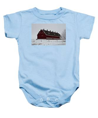 Big Red Barn In The Winter Baby Onesie