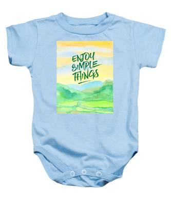 Enjoy Simple Things Rice Paddies Watercolor Painting Baby Onesie