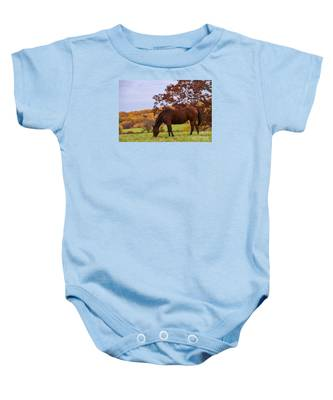 Fall And A Horse Baby Onesie