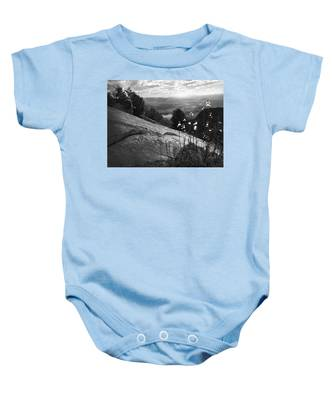 Flowers At Table Rock Overlook In Black And White Three Baby Onesie