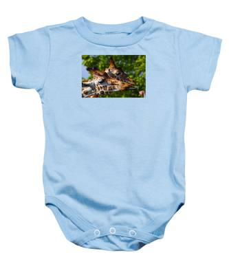 Baby Onesie featuring the photograph Giraffe Feeding Time by Dart and Suze Humeston