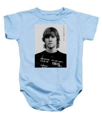 Kurt Cobain Mug Shot Vertical Black And Gray Grey Baby Onesie